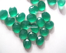 Lot Of Stunning AAA Quality 25 Pieces Natural Green Onyx 7x9 MM Oval Rose Cut Loose Gemstone .