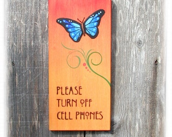 Turn Off Cell Phones Decorative Sign Hand Painted
