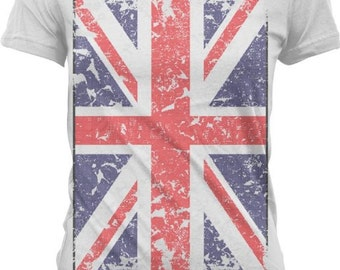 Union Jack - Great Britain Distressed flag.  Country T-Shirts - GH_00407