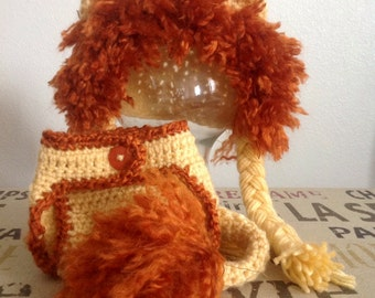 Crochet baby lion hat with diaper cover