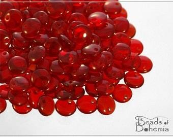 50 pc Transparent Ruby Lentil Beads 6 mm (8553)