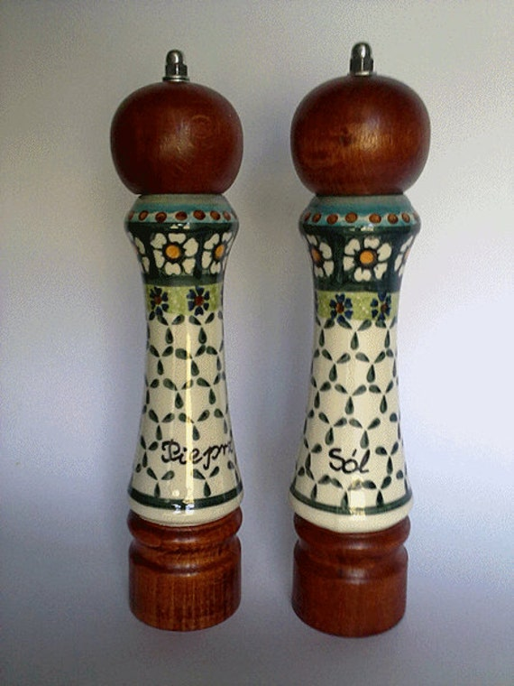 Salt And Pepper Mill Set With Hand Painted By