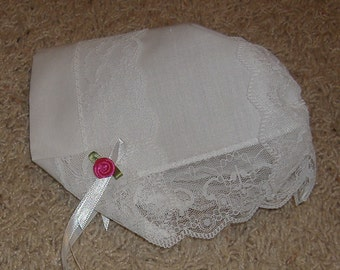 Baby Hankie Bonnet / Wedding Handkerchief with Elegance Lace