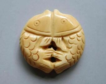 1pc Tibetan Yak Bone Fish Carved Beads 30mm x 6mm - A374