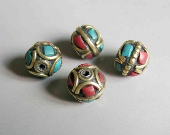 10pcs Nepal Tibetan Brass Bead With Turquoise Coral Inlay 11mm x 9mm - A432