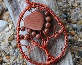 Australian handmade tree of life pendant. Wire wrapped Gemstone tree of life pendant. Australian made. Gemstone pendant. Goldstone pendant