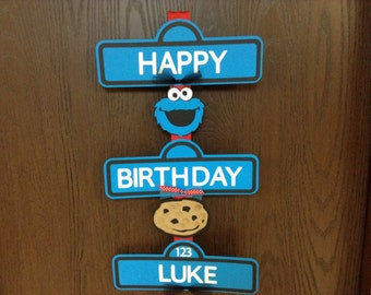 Cookie Monster Sesame Street Birthday Sign