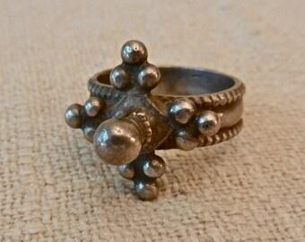Vintage Antique Tribal Boho Gypsy Men's Woman's Afghani Silver Finger Ring Size 10