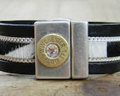 ON SALE,Leather Bullet Bracelet, Leather Cuff, Bullet Bracelet, Bullet Jewelry, Ammo Bracelet, Ammo Jewelry, Zebra cowhide,Outlaw Glam