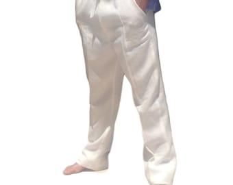 Men Linen Drawstring Pants Linen Pants White Linen pant, Beach Wedding, Destination wedding, Beach Resort Wear   #254