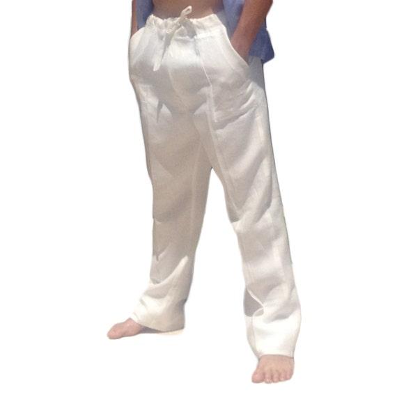 Men Linen Drawstring Pants Linen Pants White by AbysKidsLinen