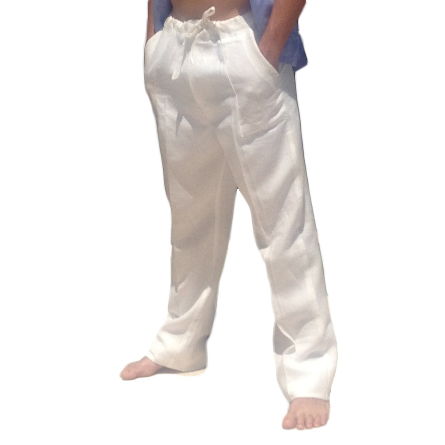 Men Linen Drawstring Pants Linen Pants White by AbysKidsLinen