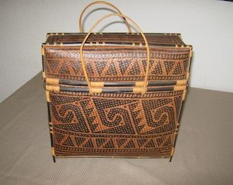 Stunning Vintage Hand Woven Indonesian Basket Purse