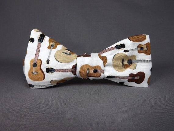 Guitar bowtie, Music bowtie, musician bowtie, country western, blues music bowtie, acoustic bowtie, guitar gift, guitar player
