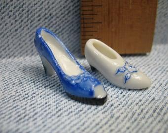 Tiny Shoes, Heels Pumps Stilettos - French Feve Feves Figurines Porcelain Miniature Figure