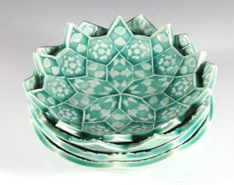Set of Four Nesting Bowls - Emerald Green Lotus Flowers