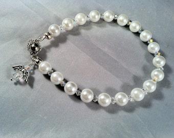 Simple Pearl and Crystal Bracelet/ Pearl Bracelet