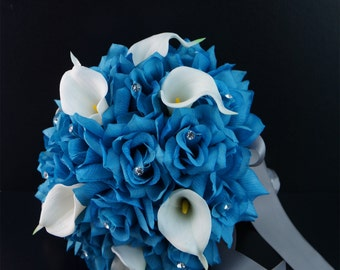 Malitu/Turquoise Bridal bouquet with Real touch calla lily,Bling rhinestone-look handle