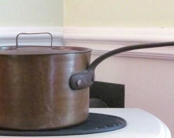 ANTIQUE 9+ lb. Copper Pan Copper Pot France Pot & Cover