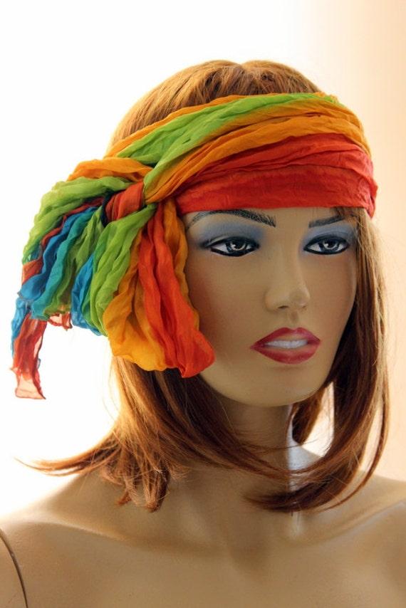 boho silk scarf silk shawl hair accessories by oceanscarf