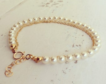 Pearls & Gold Bracelet, Pearl Bracelet, Bridesmaid Gifts, Bridal Jewelry, Personalized Gift, Flower Girl, Wedding bracelet
