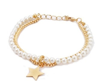 Swarovski Pearls & Gold Bracelet, Pearl Bracelet, Bridesmaid Gifts, Bridal Jewelry, Personalized Gift, Flower Girl, Wedding, Gifts under 35