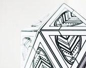 Printable Hanging Balls, DIY, JPEG, Ethnic Geometric Black and White