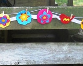 Felt Banner Bright Colors Embellished Beads Embroidery 80 Inches Long Ribbon Nursery Decor Photo Prop