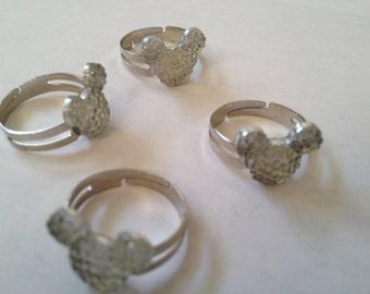 Disney Logo Mickey Mouse Jewel Adjustable Ring