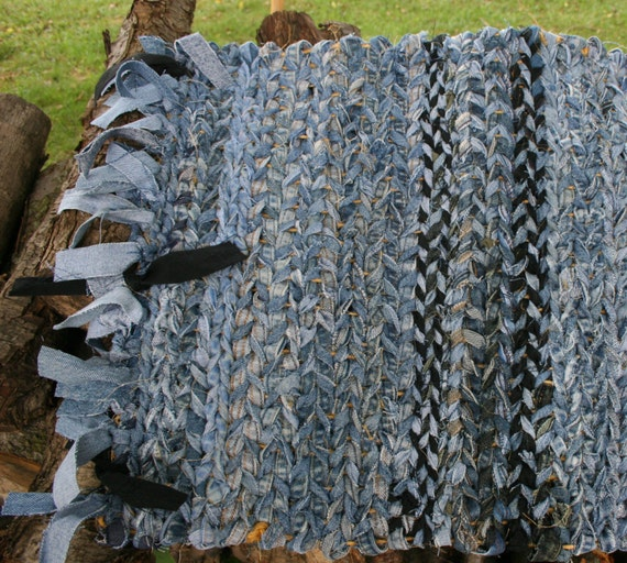 Area Rag Denim Rug Hand Woven Blue Jean Country Mud Rug By