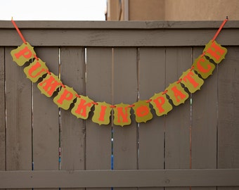 PUMPKIN PATCH banner for Halloween Parties and Decoration // Olive & Burnt Orange
