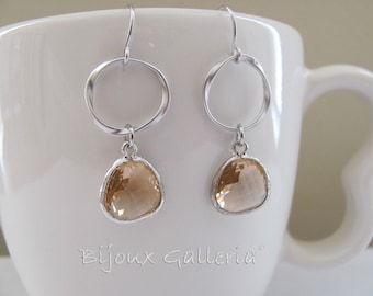 Silver Plated Sparkle Champagne Hoop Drop Earrings