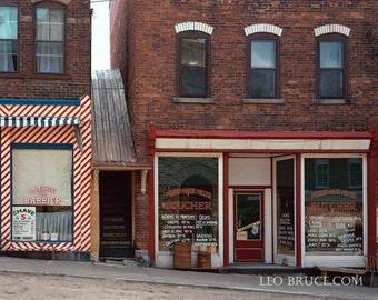 Print, Urban Landscape, Mill Street Shops, Almonte Ontario Canada, 1987
