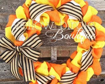 Burlap Wreath Halloween Wreath Fall Wreath Autumn Wreath  Black Orange Yellow Wreath Front Door Wreath