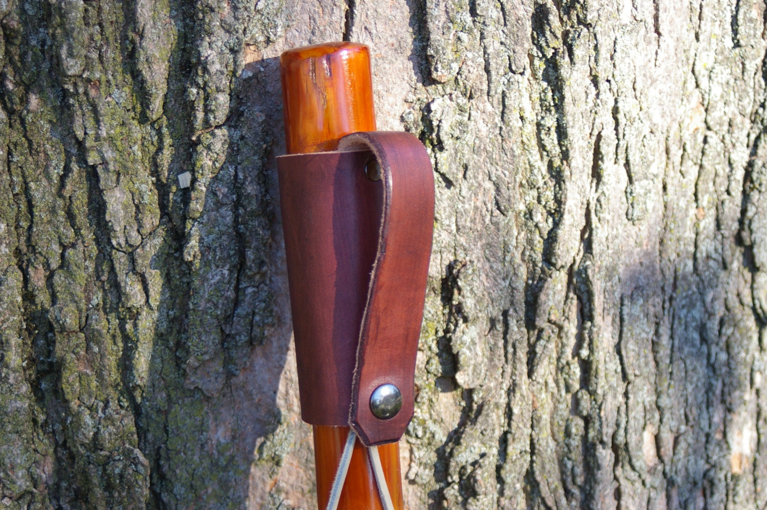 Hiking Stick With Leather Grip And Finger Strap