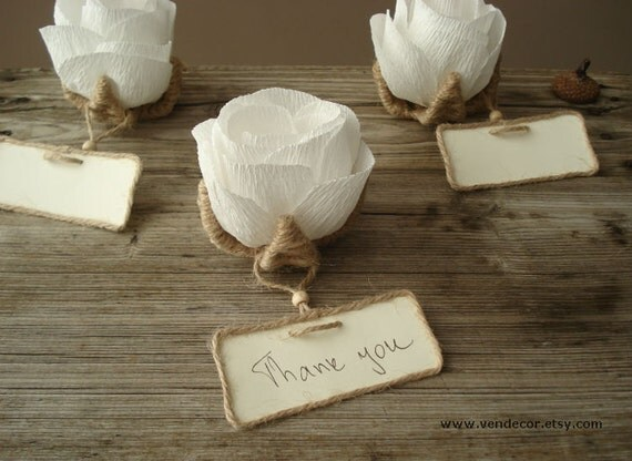 10 rustic flower place card holders unique wedding by vendecor for Place settings name card holders