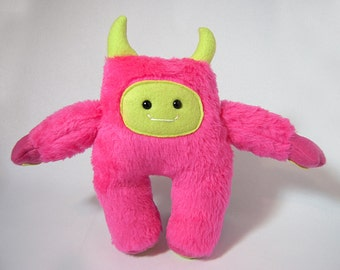 Yeti Plushie - Abominable Snowman Stuffy - Pink and Green Yeti Plush