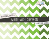 Chartreuse Chevron Digital Scrapbook Papers / White Wide Chevron / Printable Digital Paper / INSTANT DOWNLOAD / CU /  Green, Mint, Peridot