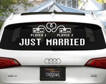 8-bit Love / Player 1, Player 2 Just Married Wedding Vinyl Decal