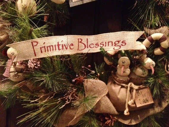 Primitive Christmas Burlap Ribbon Banner Primitive Blessings Ornament Garland