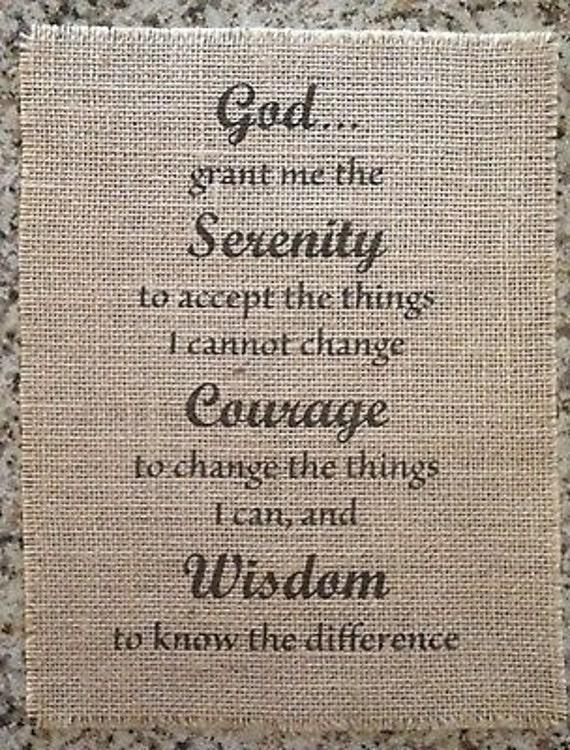 Primitive Burlap Panel Appliqué Sign Serenity Prayer Inspirational AA Pledge