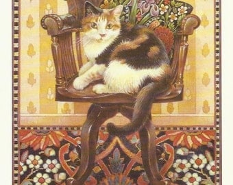 Tortoiseshell Cat on Chair by Lesley Anne Ivory 1989 colour cat print Feline Print Wall Art Home Decor Vintage Print Color Print