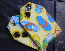Yellow Summer Fabric Fun Flip Flops and Sunglasses Badge Holder Luggage Name Identification Beach Bag and Gift Tags To mark your Gear