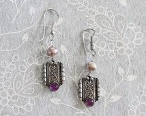 Art Nouveau Earrings. Purple Art Nouveau Earrings. Handmade Art Nouveau Earrings. Sterling Silver. Amethysts Earrings. FREE SHIPPING!