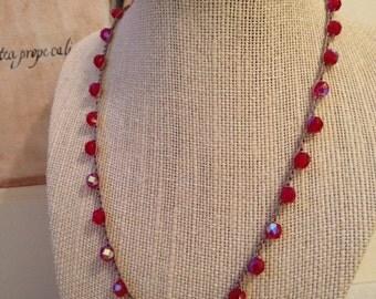 Boho Crochet Necklace - Red Czech Beads