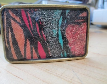 Square Fine Art Abstract Belt Buckle, from Alaska