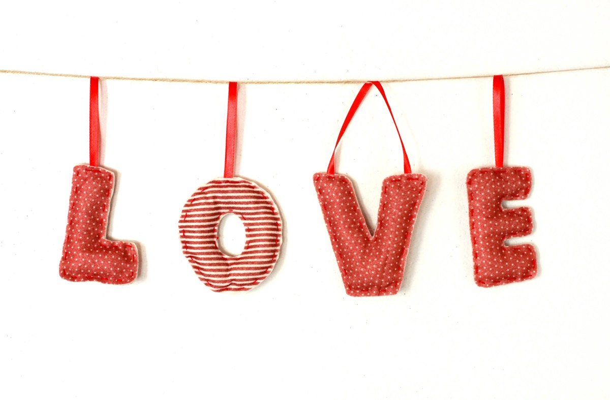 Red Love Wall Decor : Love wall decor red set of letters by myhouseofdreams