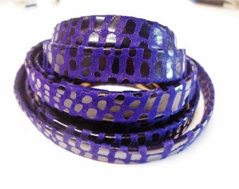 Pre Cut, No Joins,  10mm Flat Synthetic Cancun Violet Leather Cord,