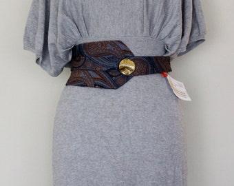 Blue/Mustard Wrap Around Belt, Vintage Tie Belt, Vintage Buttons Chic Belt, Classy Belt