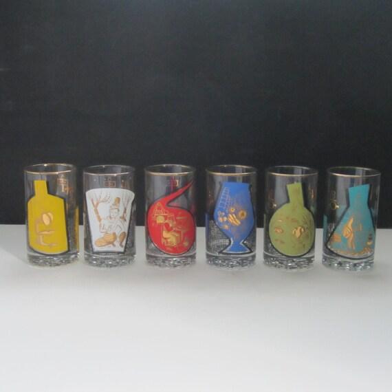 sale six mid century rx vintage barware glass unique